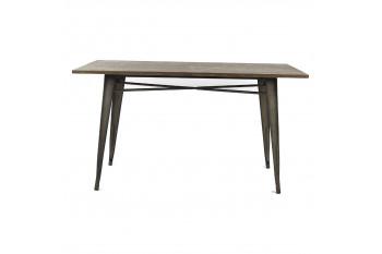 Table rectangulaire en métal et bois - LITO