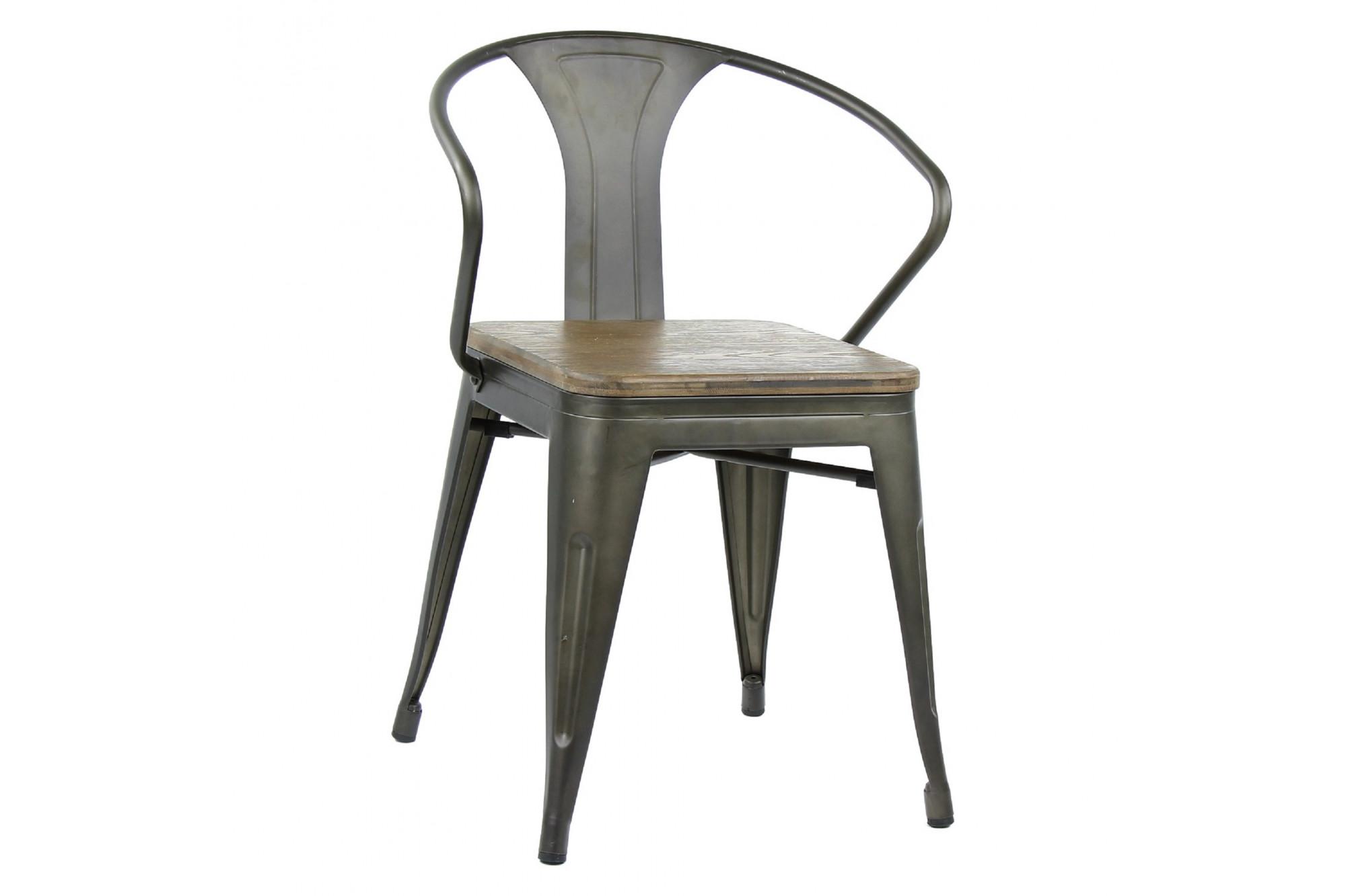 Chaise Bois Et Metal Industriel chaise fauteuil de style industriel : lot de 2 - hellin