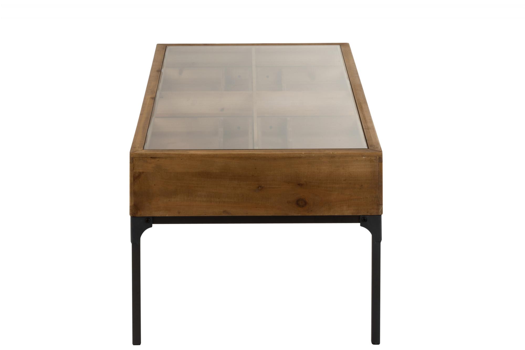 Table Basse Vintage En Bois Et Metal Porte Bouteilles Plateau En Verre Trempe Hellin