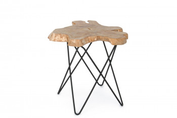 Bout de canapé en bois massif et métal - SAVANA