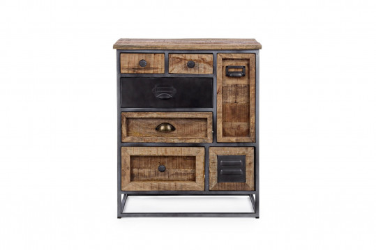 Commode 7 tiroirs en bois et métal - BRONX