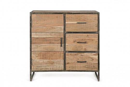 Buffet en bois et métal 1 porte/3 tiroirs - CONNEMARA
