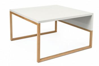 Table basse carrée bois et blanc 70 - AVALON