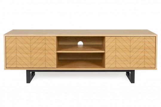 Meuble TV en bois 2 portes 3 étagères - KALMAR