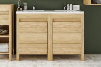 Meuble de salle de bain L120 bois massif double vasque + 2 portes - CORK