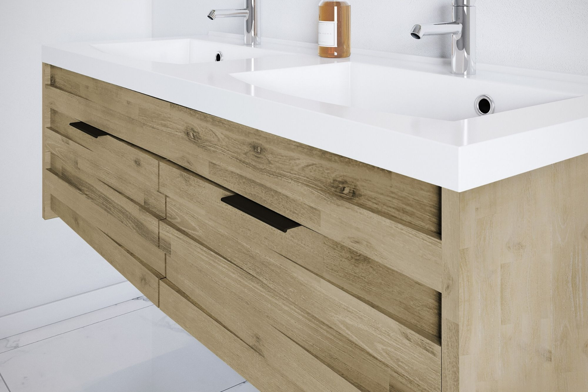 Meuble de salle de bain 15 cm en bois massif et sa double vasque - Hellin