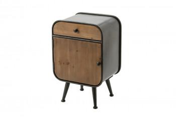 Table de chevet en bois et métal 1 porte et 1 tiroir - BILBAO