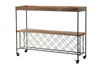 Console à roulettes en bois et métal LAURA