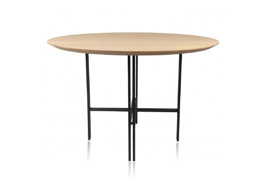 Table ronde moderne en bois et métal D120 - BRIGHTON