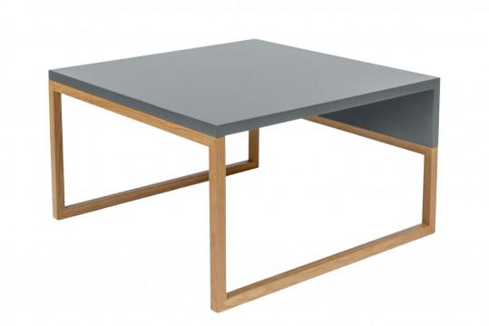 Table basse carrée bois et gris 60 - AVALON