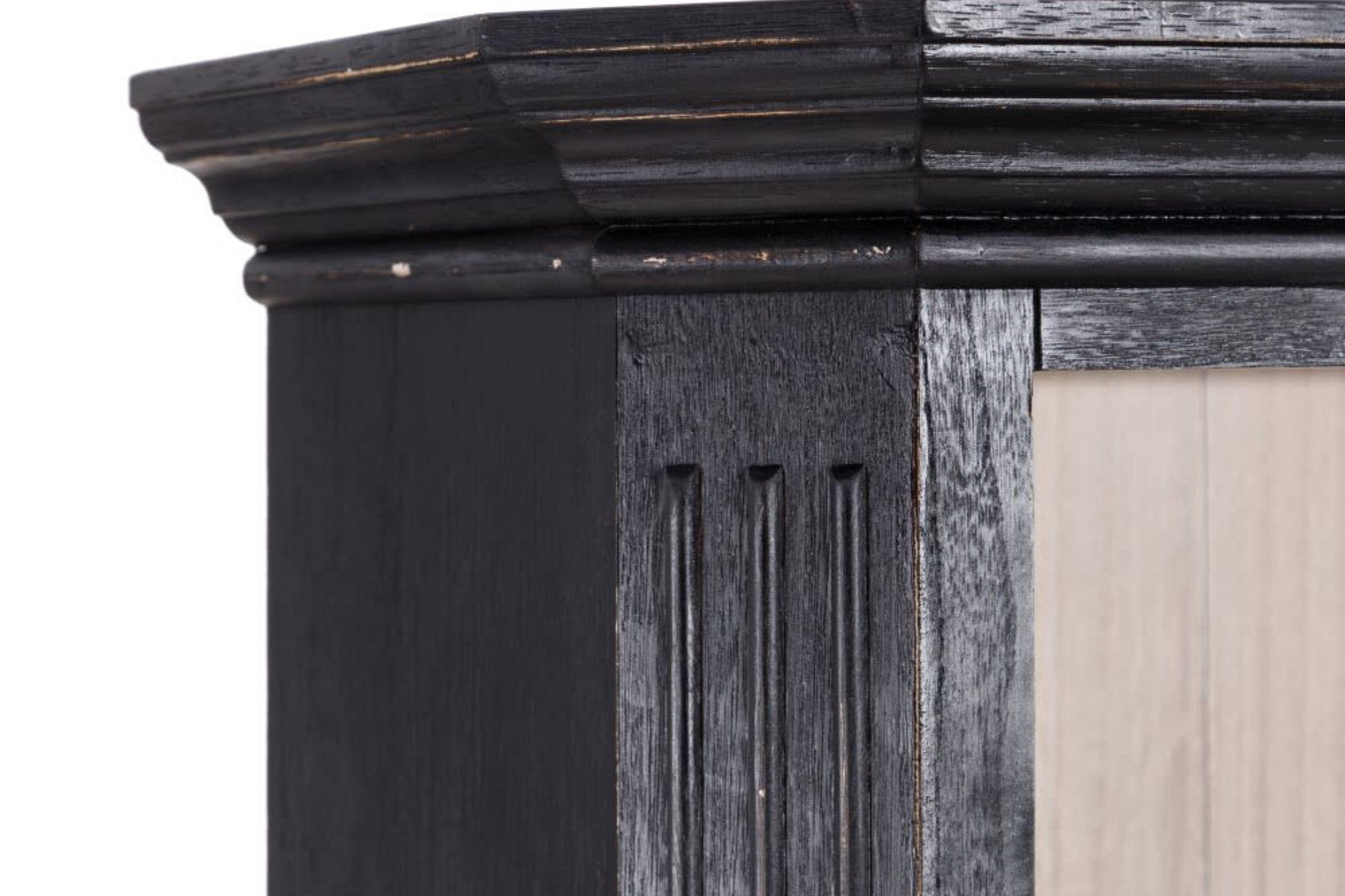 Vitrine en bois noir 4 portes 2 tiroirs condor hellin - Table de salle a manger en bois massif ...
