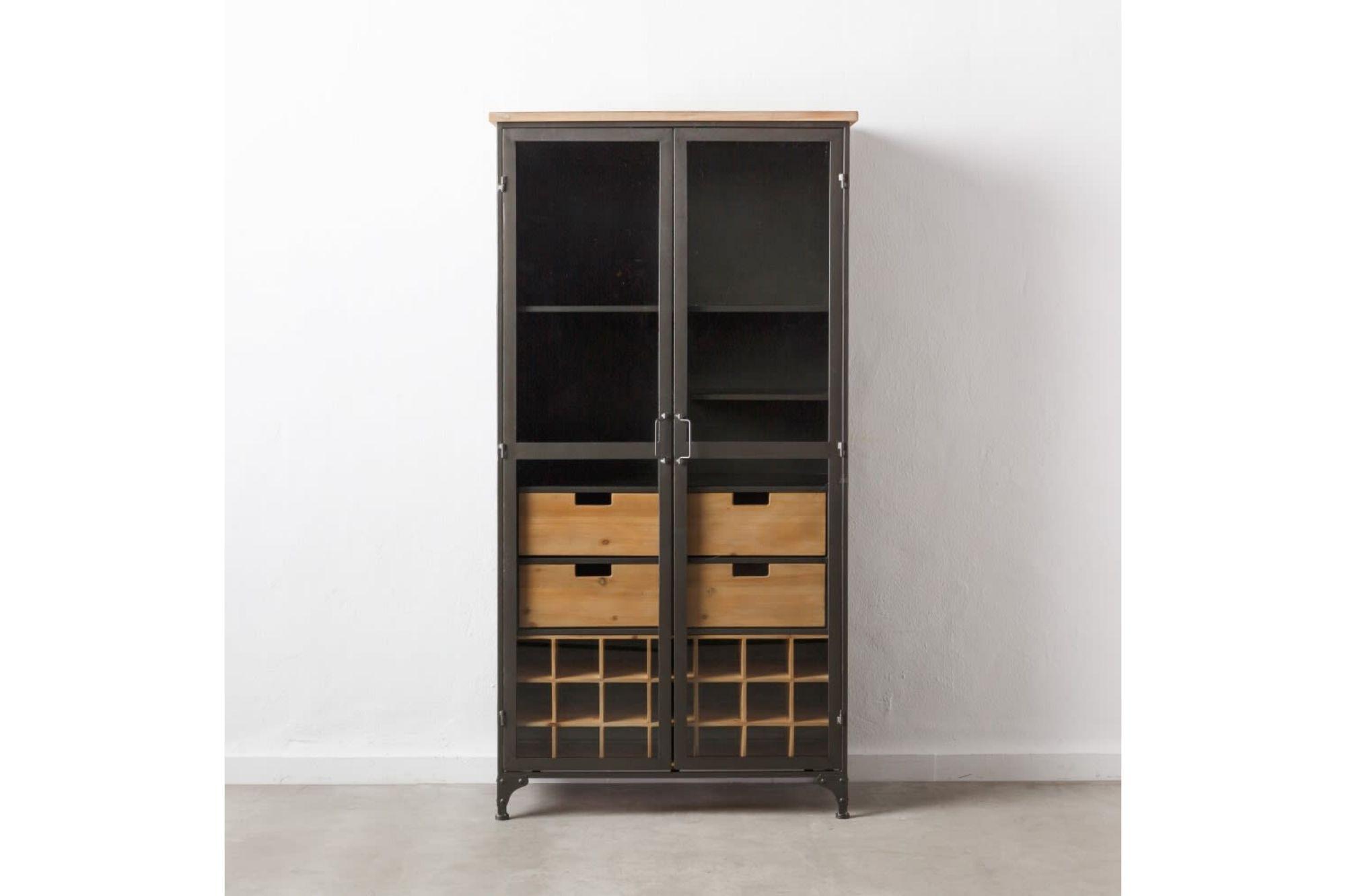 Vitrine en bois et m tal 2 portes 4 tiroirs industriel - Table de salle a manger en bois massif ...