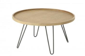 Table basse en rotin tressé et pieds métal- Large- TEDDY