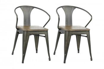 Fauteuils en bois et métal (Lot de 2) - LITO