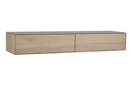 meuble tv suspendu en bois massif avec 2 tiroirs Filigrame