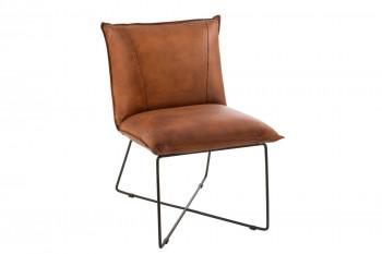 Fauteuil lounge en simili et métal - AVERY