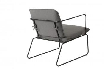 Dos du fauteuil gris et pieds noirs