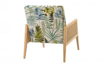 Dos du fauteuil en lin et cannage motifs florales