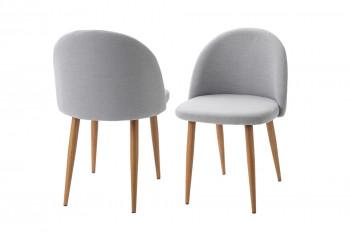 Lot de deux fauteuils en tissu gris