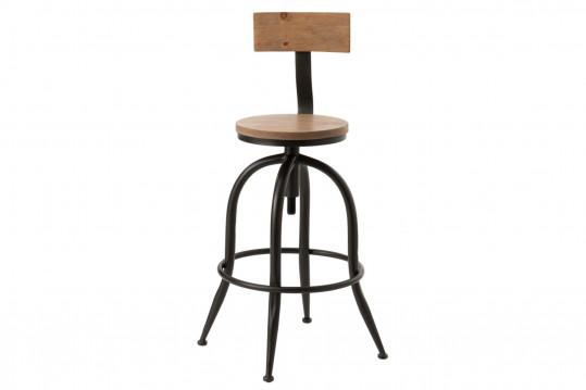 Tabouret de bar en bois et métal réglable avec dossier - FERROL