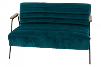 Canapé 2 places relax en velours et métal - LISBOA