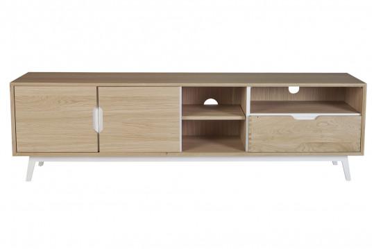 Meuble TV bas nordique en bois 3 portes 3 niches - JOYCE
