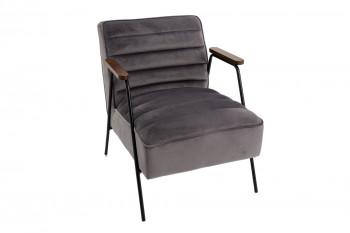 Fauteuil relax en velours et métal noir - LISBOA