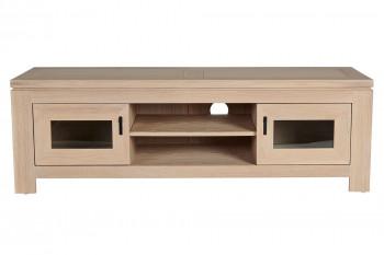 Meuble TV bas moderne en chêne blanchi 2 portes 2 niches - BOSTON