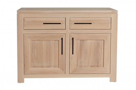 Buffet bas moderne en chêne blanchi 2 portes 2 tiroirs - BOSTON