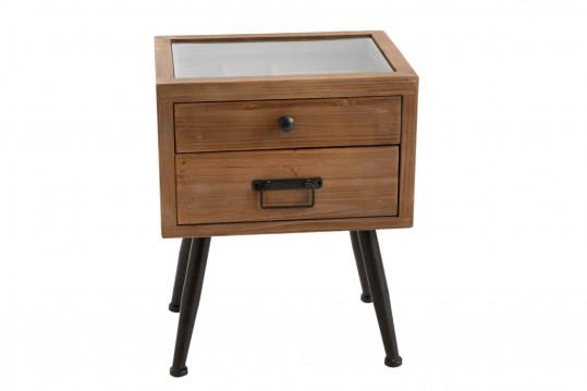 Table de chevet avec 1 tiroir et 1 tiroir à compartiments vitrine