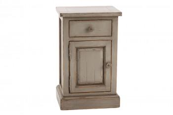 Table de chevet en bois patiné 1 porte 1 tiroir - LAVANDE