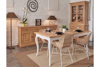 Salle à manger collection VICTORIA : table, buffet et vitrine en bois