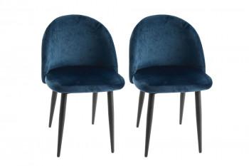 Chaises vintage en velours et métal bleu