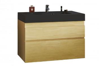 Meuble de salle de bain en chêne avec vasque noir 80 - NAPOLI