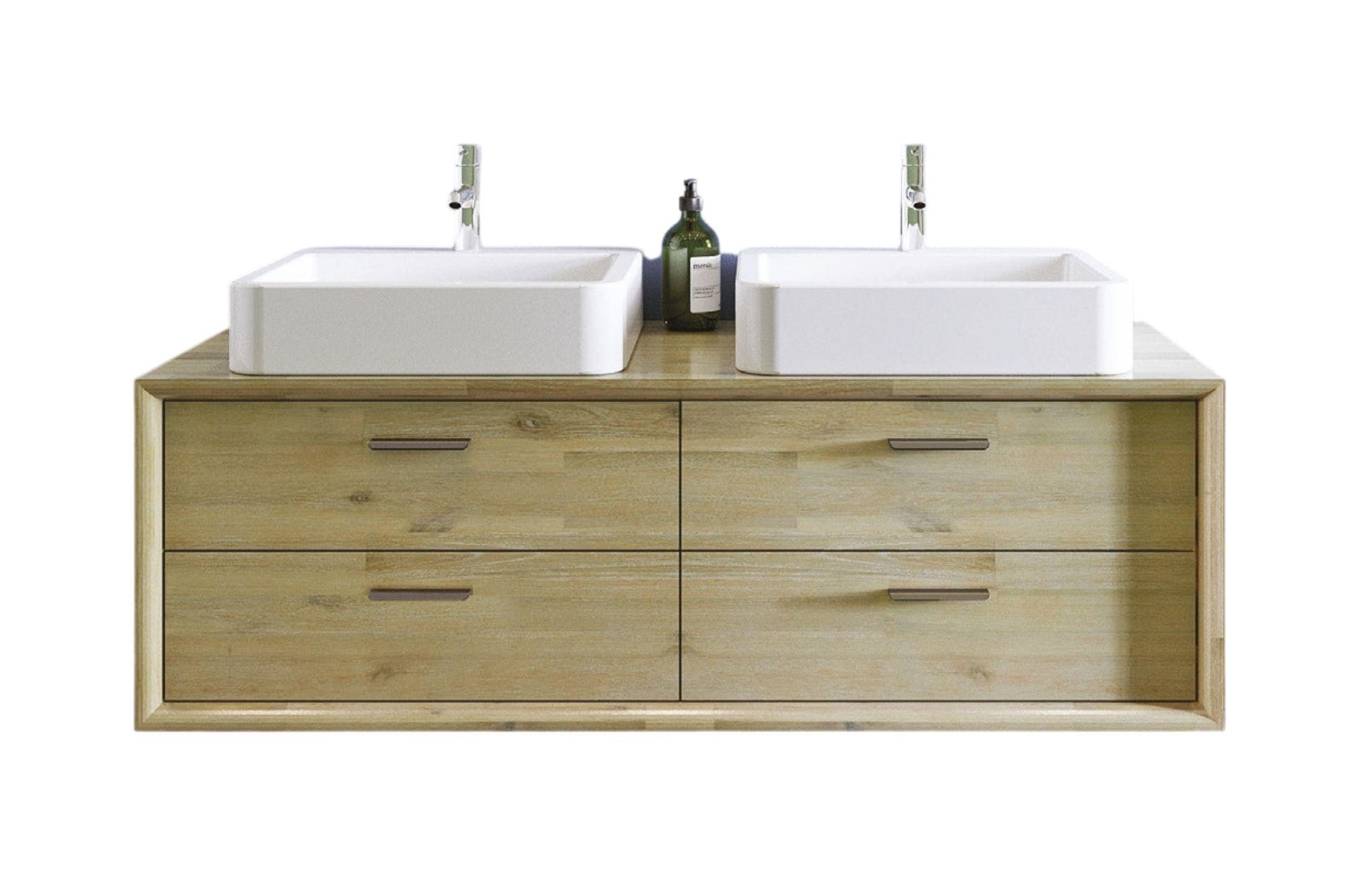 meuble sous vasque en acacia avec deux vasques en céramique