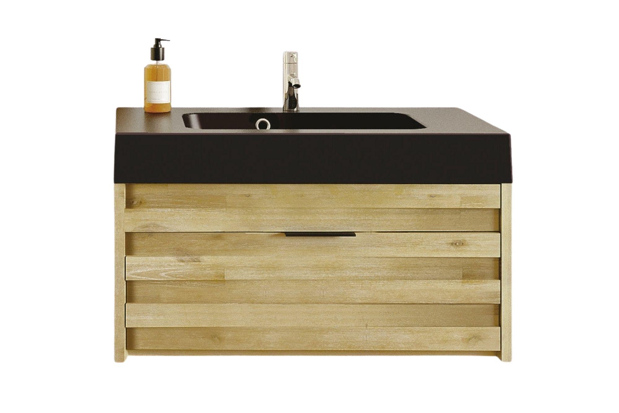 brillant 50x80cm Noir salle de bains Lavabo meuble bas mcw-b19