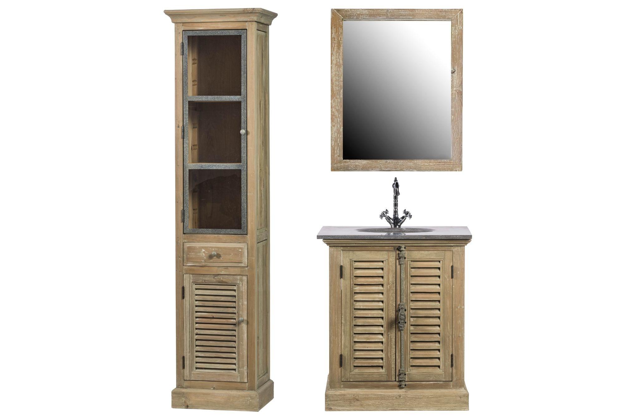 Ensemble de salle de bain : meuble simple vasque, miroir et colonne