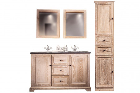 Ensemble de salle de bain double vasque, deux miroirs armoire et une colonne