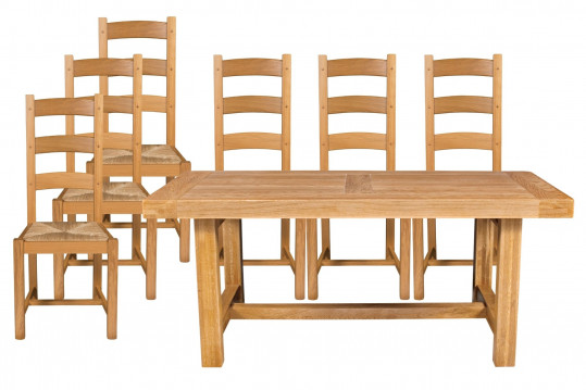 Table de ferme en chêne massif L180 + 6 chaises - La Bresse