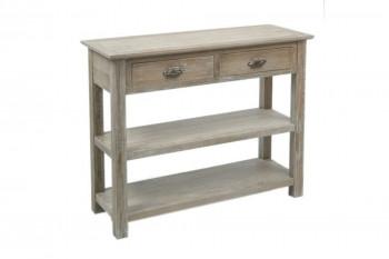 console drapier en bois délavé avec 2 tiroirs et 2 tablettes