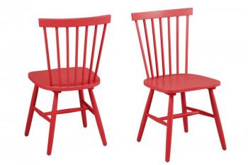 Occasion Lot de 2 chaises bois hévéa TOLEDO - coloris rouge