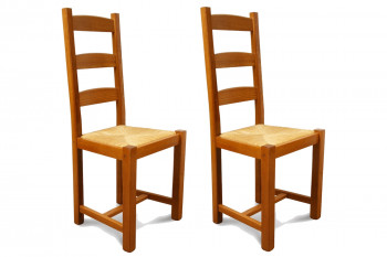 OCCASION Chaises en bois - assise paille - Riga (Lot de 2)