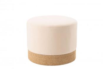 Pouf rond en tissu blanc - OLAVO