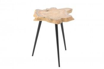 table basse bois et métal tronc d'arbre