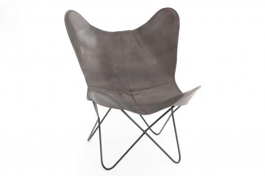 fauteuil papillon gris en cuir