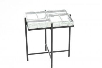 Bout de canapé rectangulaire en verre et métal - GLASS