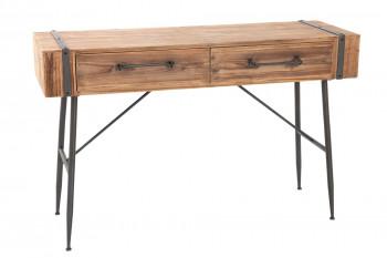 Console en bois et métal avec deux tiroirs