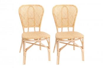 lot de 2 chaises bistrot en rotin