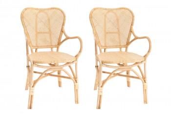 lot de 2 fauteuils avec accoudoirs bistrot en rotin