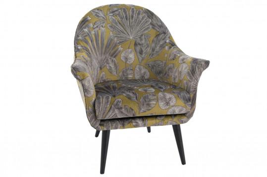 Fauteuil en velours et motif floral - CUBA